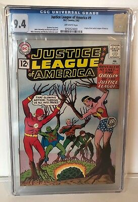 Justice League Of America #9 - Cgc 9.4 - Origin Of The Justice League - Ow Pages
