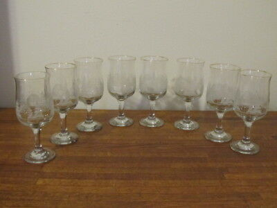 Vintage Arby Arby's Etched White Winter Stemmed  Glasses Gold Rims Set of 8 B