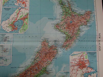 New Zealand Auckland Wellington Christchurch Pacific Islands 1959 vintage map