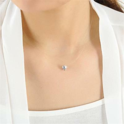 Necklace Line Invisible Crystal Chain Women Transparent Zircon Pendant Clavicle