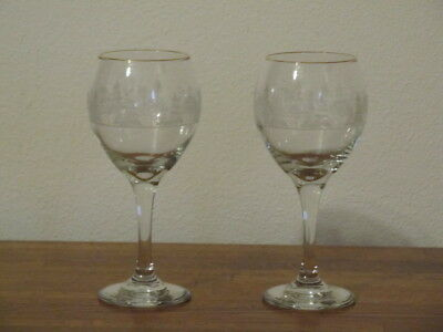 2 Vintage Arby Arby's Etched White Winter Stemmed Wine Glasses Gold Rims