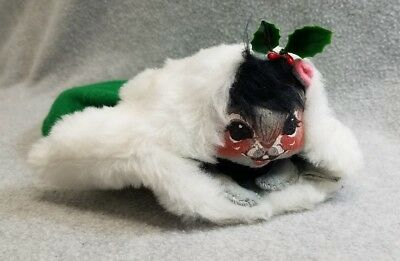 Vintage Annalee Mobilitee Doll Figure Christmas Mouse In Mitten 1971