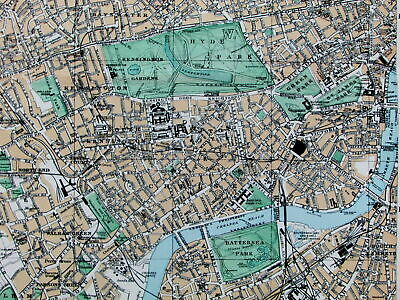 West London England Fulham Hyde Regents Park Thames River c.1880 map city plan