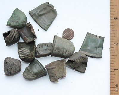 Group Of Antique Old Bronze Brass Thimbles (OCR)