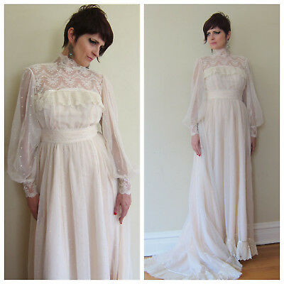 1980s Wedding Dress Sheer Cream Mesh Lace Boho Neo Edwardian Long Sleeves Small