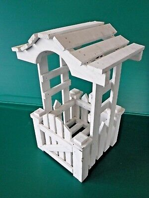 Vintage~White~Fairy Garden~Wood Picket Fence~Archway~Single Planter~Shabby Chic