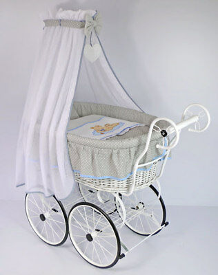 Bueno Deluxe Handmade Baby Wicker Crib Moses Basket With Canopy & Bedding Grey