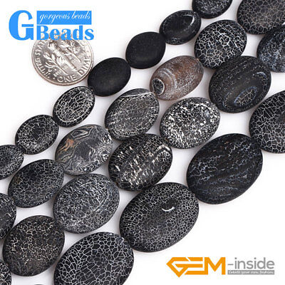 """Matte Frosted Oval Crack Black Agate Stone Beads for Jewelry Making Strand 15"""""""
