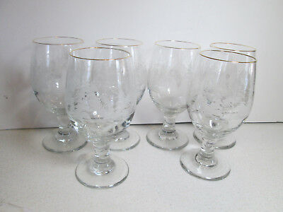 6 Arby's Libbey Frosted Winter Christmas Scene Trees Gold Rim Wine Glasses 6.5""