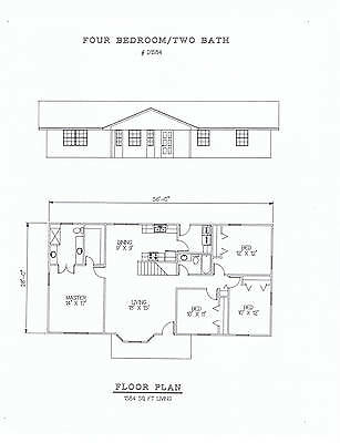 1584 square foot four bedroom house plan