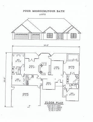 2753 square feet four bedroom house plan
