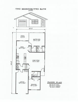 1162 square foot two bedroom house plan