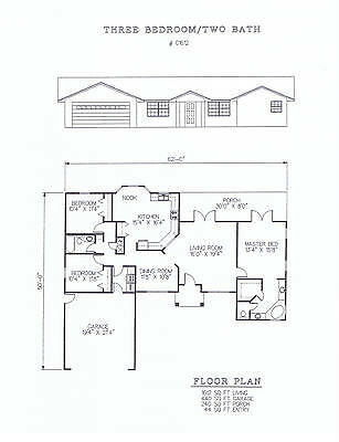 1612 square foot three bedroom house plan