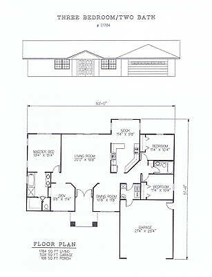 1784 square foot three bedroom house plan