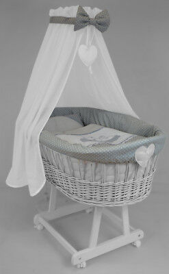 Deluxe Handmade Baby Wicker Crib Moses Basket With Canopy & Bedding Grey