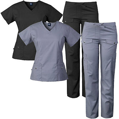 Medgear Women's Stretch Medical Scrubs Set with Silver Snaps Detail