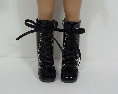 """BLACK Patent Zipper Boots CF Doll Shoes For Effner 13"""" Little Darling (Debs)"""
