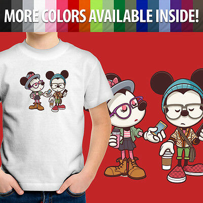 Hipster Disney Mickey & Minnie Mouse Cartoon Cute Unisex Kids Tee Youth T-Shirt