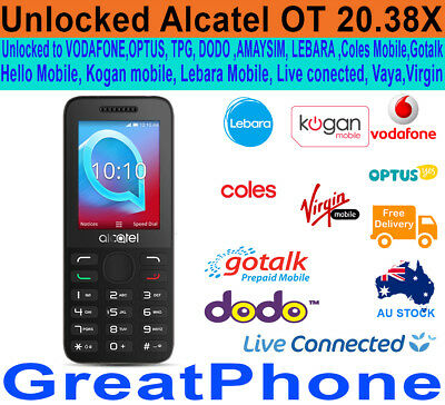 New Alcatel 20.38X Cocoa Gray Phone Unlocked to Voda*Optus*TPG*Lebara  and more