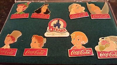 Coca Cola Salutes Walt Disney World - Happy 15th Birthday Pin Set RARE Peter Pan