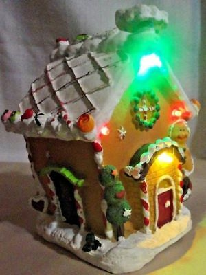 """Gingerbread House W/ red,yellow and geen Lights """"SHIPS IN 24 HOURS OR LESS"""""""