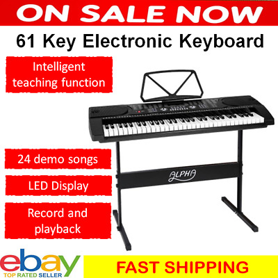 61 Keys Portable LED Electronic Music Piano Keyboard with Adjustable Stand Board