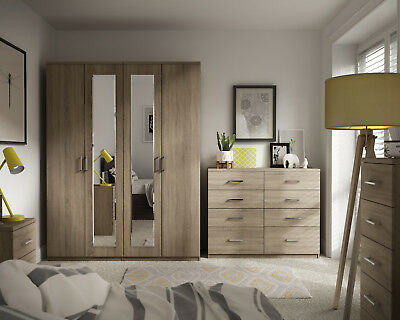 Medina Bardolino Oak Wardrobe Drawer Set Fully Ready Assembled Bedroom Furniture