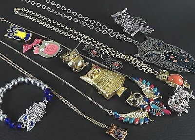 Lot 12 vintage /now mixed some signed owl bird bracelet brooch pendant estate AB
