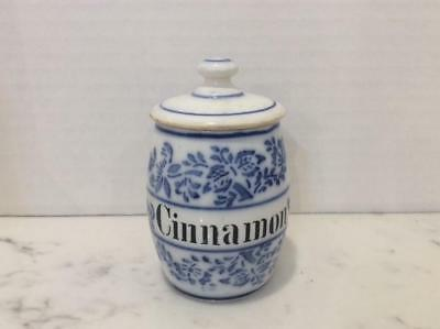 Antique Blue and White China Cinnamon Spice Jar / Canister, Germany