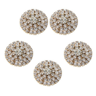 5pcs Alloy Rhinestone Flatback Round Craft Buttons for Wedding Gift Wrapping