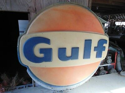 Original Gulf Oil lighted embossed sign, 1982, 2-sided plastic, with pole