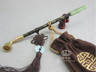 Cigarette pipe  long stem  tobacco smoking pipes  wood jade  Chinese traditional