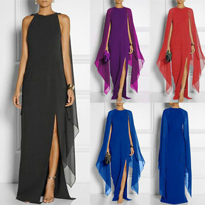 Womens Chiffon Formal Maxi Dress Ladies Evening Party Ball Gown Dress Size 6-16