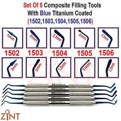 Set of 5 Composite Restorative Filling Placement Tools With Blue Titanium Coated