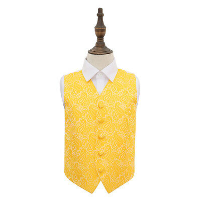 DQT Woven Floral Paisley Gold Page Boys Wedding Waistcoat 2-14 Years