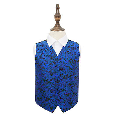 DQT Woven Floral Paisley Royal Blue Page Boys Wedding Waistcoat 2-14 Years