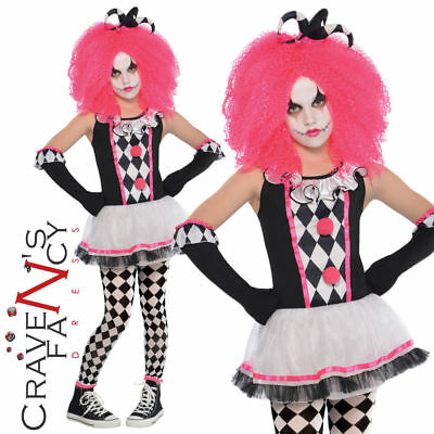 Girls Harlequin Honey Costume Kids Jester Halloween Fancy Dress Clown Outfit New