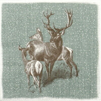 4x Paper Napkins for Decoupage Decopatch Craft Deer Family