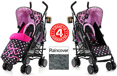 New Cosatto Bow How Supa Pushchair Stroller Baby Buggy & Raincover From Birth