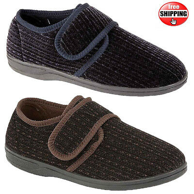 Mens Diabetic Orthopaedic Strap Close Easy Fastening Wide Fit Slipper Comfy Sole