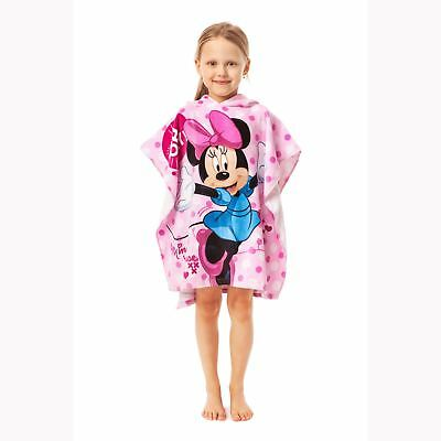 Minnie Mouse Polka Dot Hooded Poncho Towel 100% Cotton Childrens Pink