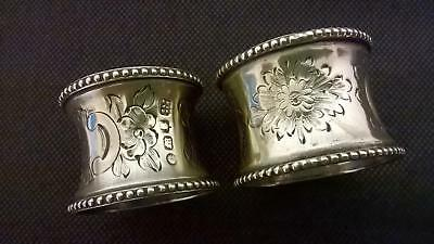 2 x Antique Silver Plated Napkin Rings with floral design & bead edge