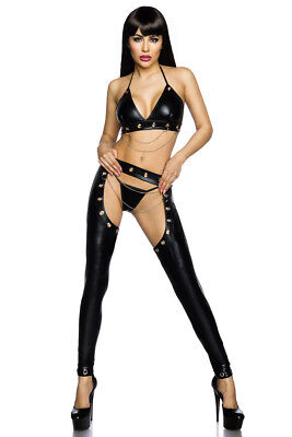 Sexy Wetlook Set Top + Slip + Chaps Lederlook Saresia Gogo Schwarz XS S M L Neu