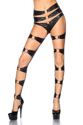 Sexy Wetlook Leggings Cut Outs Gogo Schwarz Lederlook Saresia S M L XL Neu