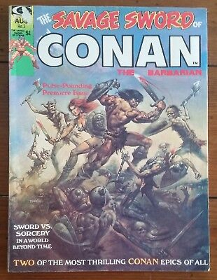 The Savage Sword Of Conan 1, Marvel Comics, Aug 1974, Vg+