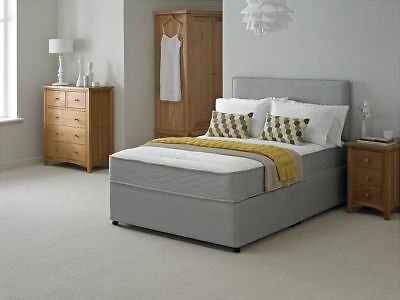 New Grey Memory Foam Divan Bed Set With Free Matching Headboard 3Ft4Ft4Ft65Ft