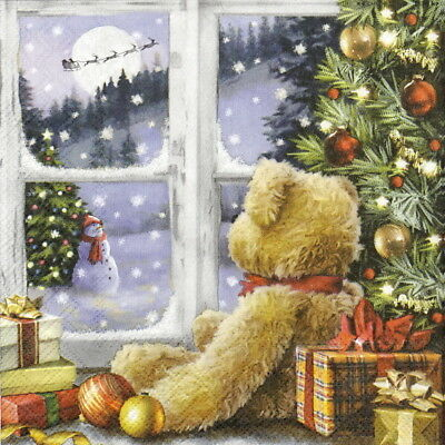 20x Lunch Paper Napkins Serviettes Party, Teddy Looking at Santa
