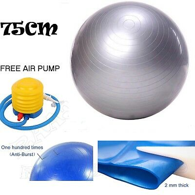 75cm ANTI BURST YOGA EXERCISE GYM PREGNANCY SWISS FITNESS ABS BALL + PUMP SILVER