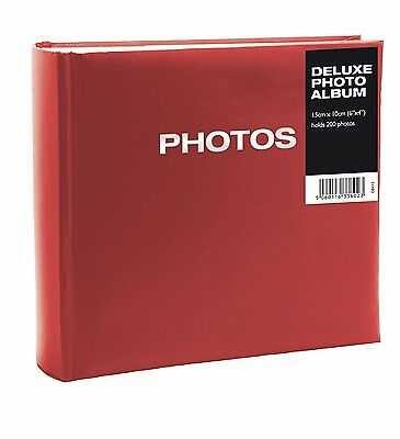 Deluxe 200 Photo Album With Slip In Pockets In Red {Photo's 6 x 4} *BRAND NEW*