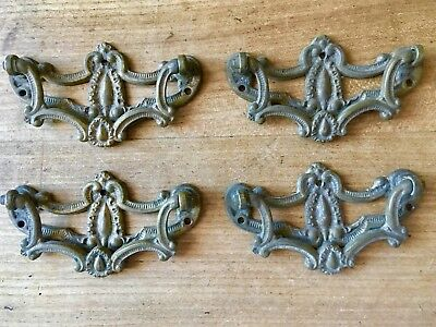 4 Drawer Pull Handles Antique Solid Brass Reclaimed Old Original
